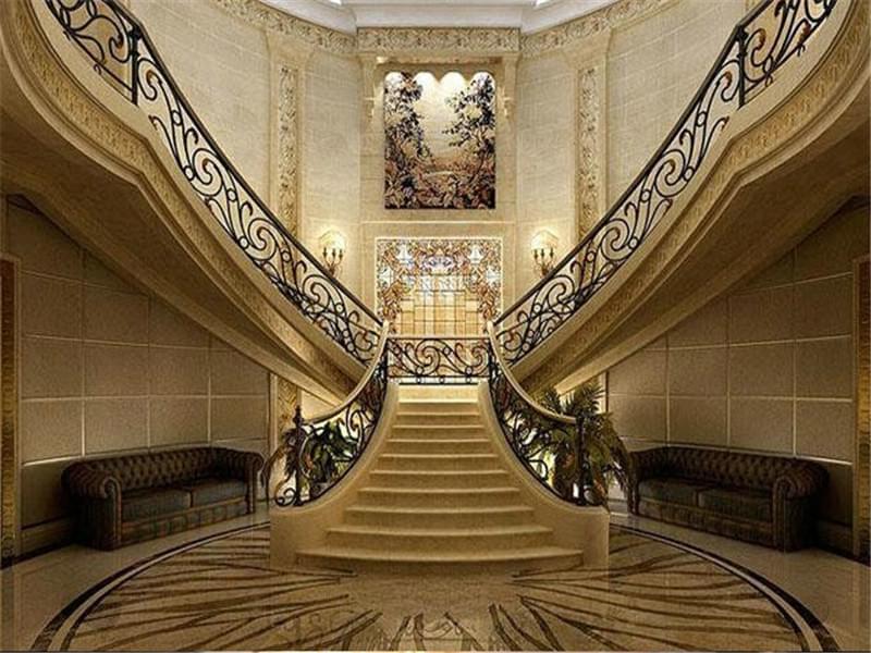 米黄色天然大理石楼梯踏步|欧式大理石楼梯踏步|家装