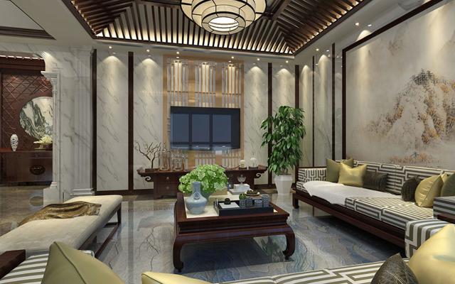 别墅大理石新中式风格